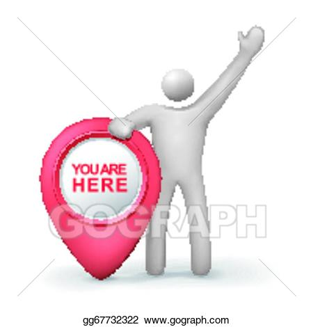 You are here clipart vector free download Vector Stock - 3d human with you are here symbol. Clipart ... vector free download