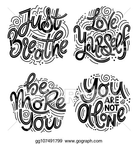You are not alone clipart picture library library EPS Vector - Inspirational quotes for mental health day ... picture library library