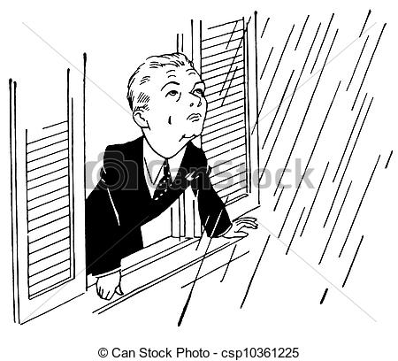 Young boy searching clipart black and white picture black and white library A black and white version of a young boy staring at the falling rain picture black and white library