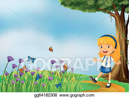 Young butterfly clipart graphic free Vector Art - A young school girl in the garden with ... graphic free