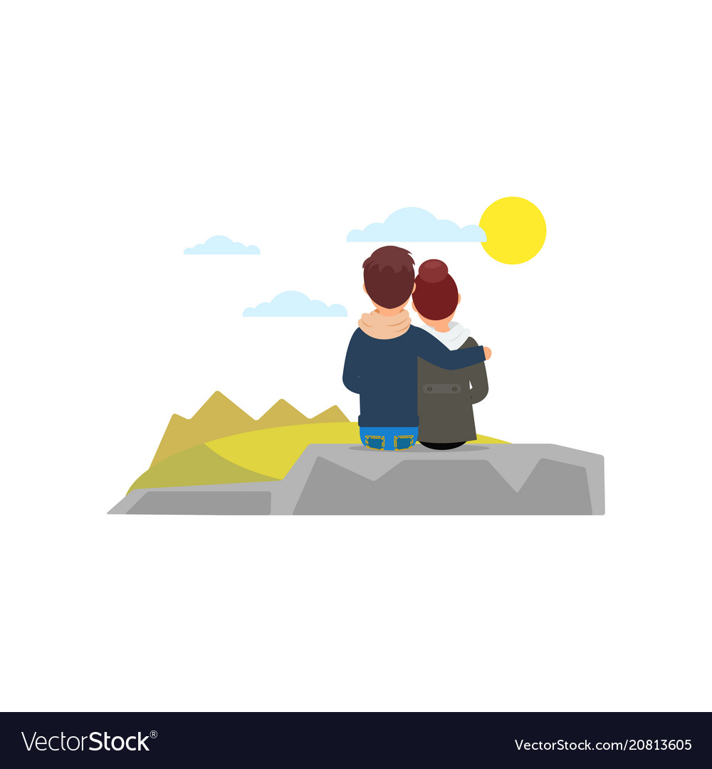 Young couple looking at each other clipart vector transparent Young couple hugging sitting on stone and looking vector transparent