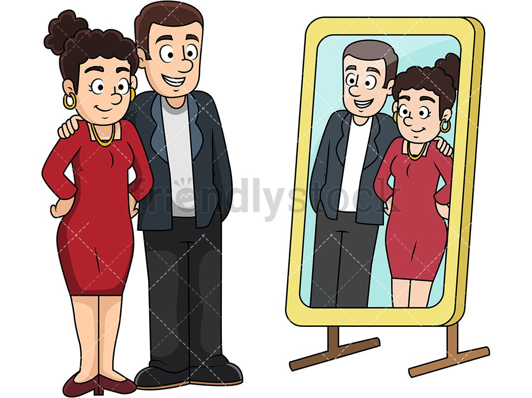 Young couple looking at each other clipart clipart freeuse download Couple Looking In The Mirror Before A Night Out | Love ... clipart freeuse download