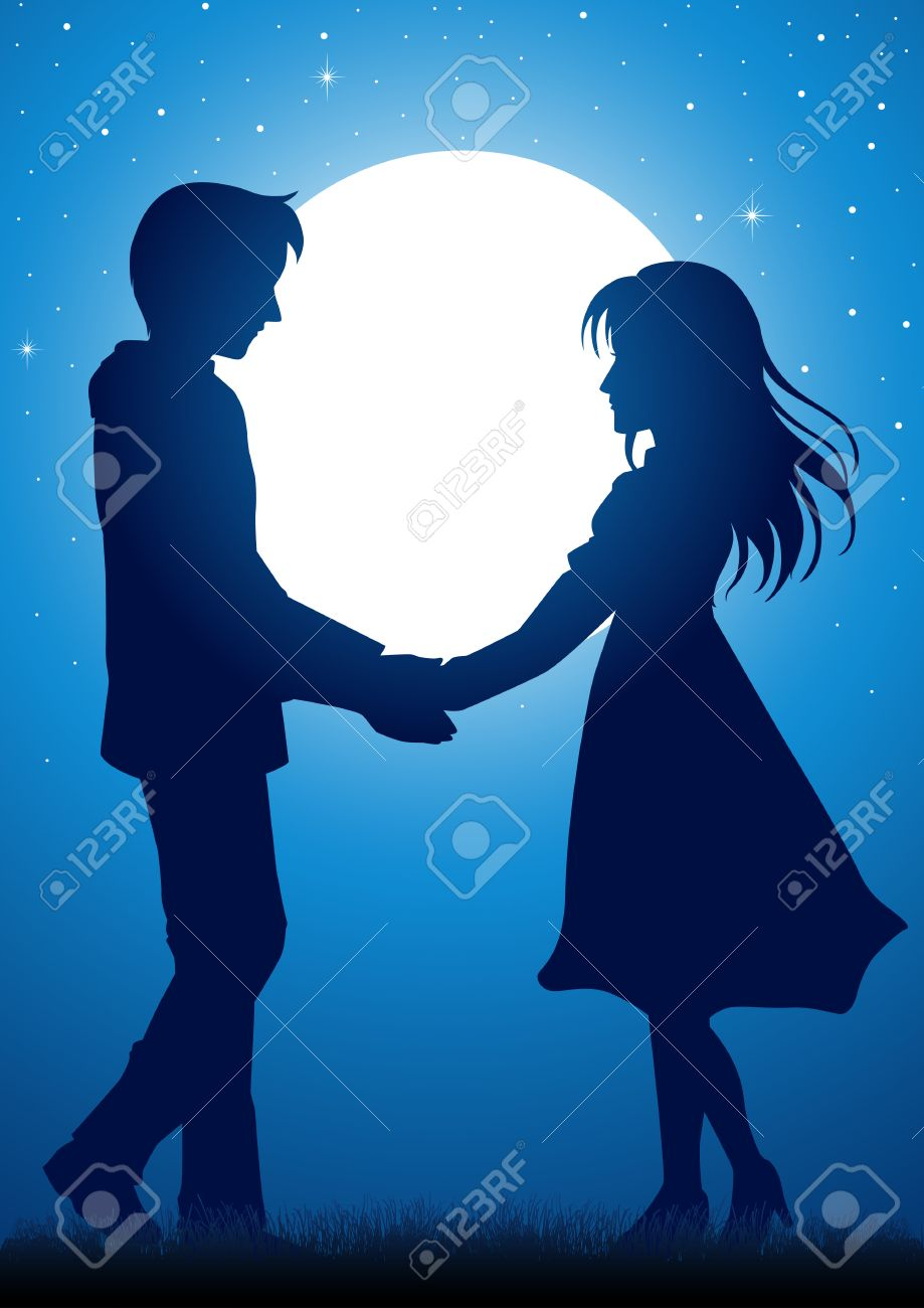 Young couple looking at each other clipart graphic royalty free Silhouette Of Couple Facing Each Other graphic royalty free