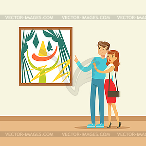 Young couple looking at each other clipart clipart library download Young couple in modern art gallery looking at - color vector ... clipart library download