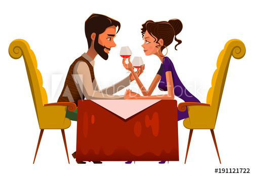 Young couple looking at each other clipart graphic royalty free library Young passionate couple drinking wine in cafe. Vector ... graphic royalty free library