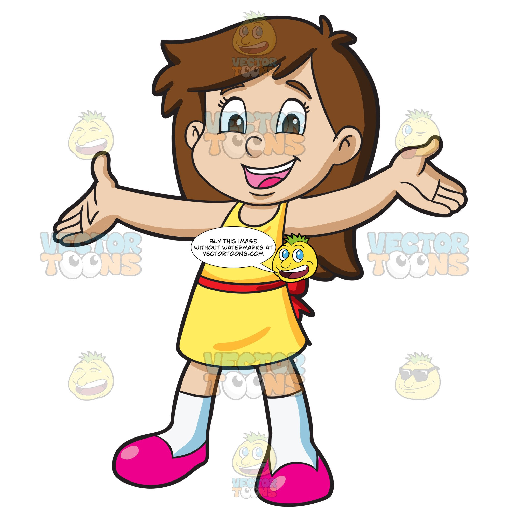 Young girl long brown hair clipart image royalty free stock A Young Girl Opening Her Arms In Anticipation image royalty free stock