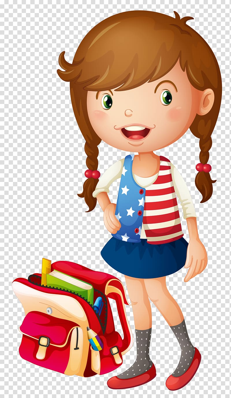 Young girl long brown hair clipart clip art free stock Brown haired girl in dress beside backpack , School Bag ... clip art free stock