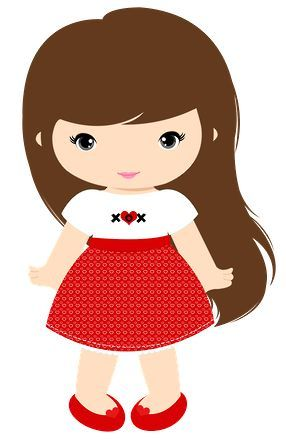 Young girl long brown hair clipart