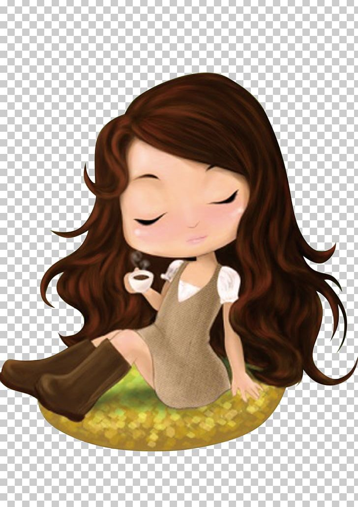 Young girl long brown hair clipart image black and white stock Cartoon Hair Drawing PNG, Clipart, Animation, Art, Baby Girl ... image black and white stock