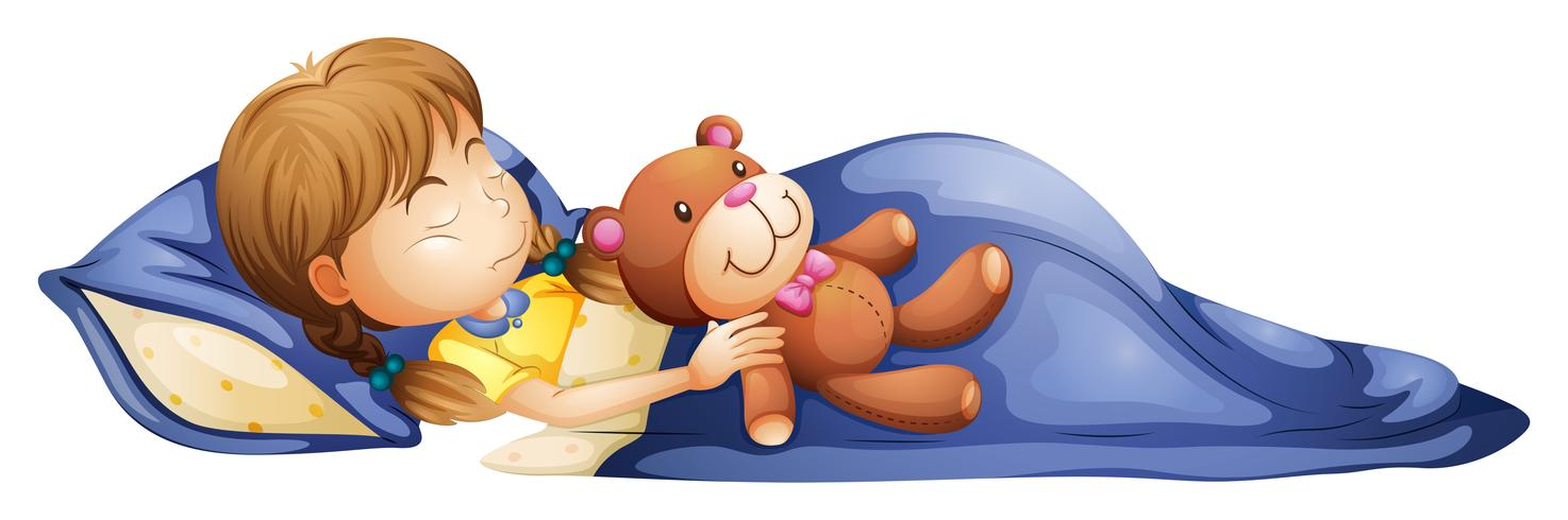 Young girl sleeping and her stuffed animal clipart vector royalty free stock A young girl sleeping with a toy Vector - Download Free ... vector royalty free stock