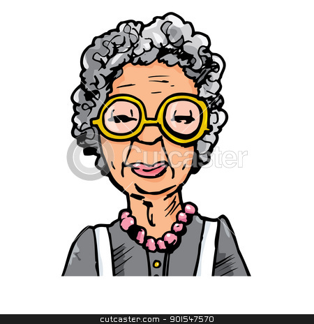 Young vs old ladies clipart clipart black and white library Cartoon of an old lady with glasses stock vector clipart black and white library