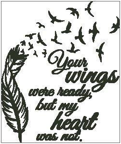 Wings were ready heart was not clipart svg Your Wings Were Ready - Feather with Birds svg