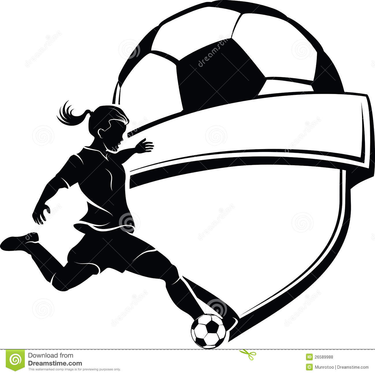 Youth soccer clipart banner svg black and white stock Girls Soccer Ball Cliparts - Free Clipart svg black and white stock