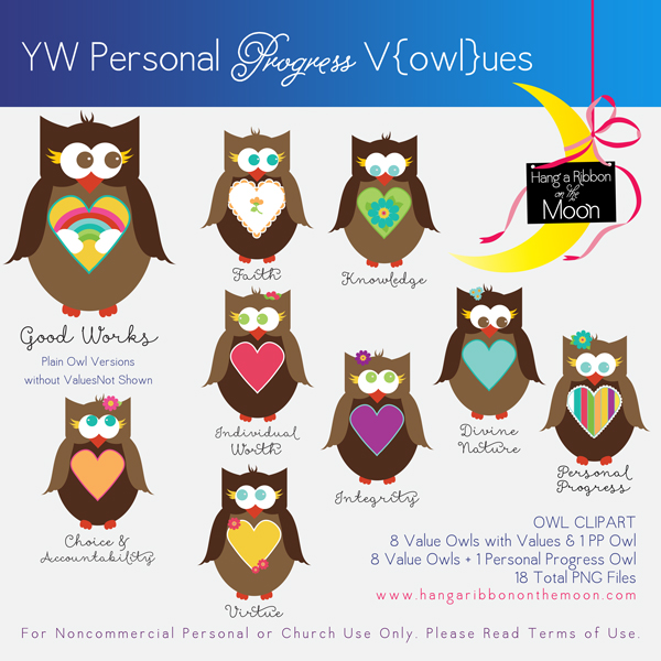 Yw values clipart jpg library stock YW Personal Progress V{owl}ues Clipart | Hang a Ribbon on ... jpg library stock