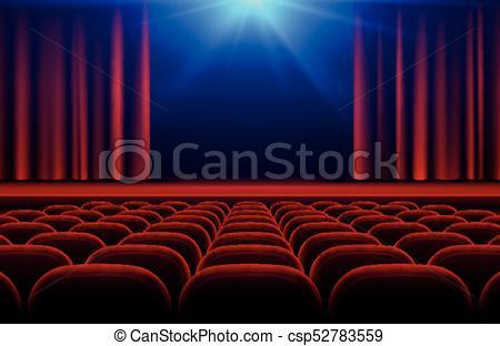 Zaal theater clipart svg black and white stock toneel, bioscoop, theater, illustratie, of, vector, zetels, gordijn, zaal,  rood svg black and white stock
