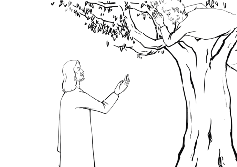 Zacchaeus clipart black and white image library stock Jesus Asked Zacchaeus to Come Down coloring page | Free ... image library stock