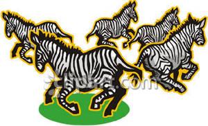 Zebra herd clipart jpg library stock Running Herd of Zebras - Royalty Free Clipart Picture jpg library stock