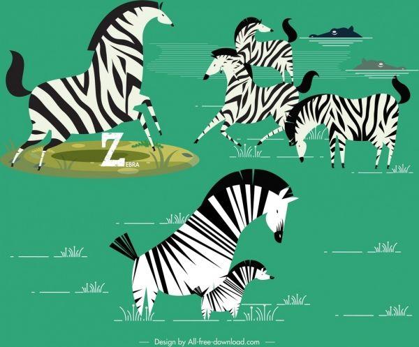 Zebra herd clipart clip black and white wild zebra herd painting colored classical | clip art ... clip black and white