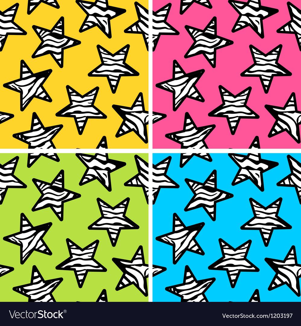 Zebra stripe star clipart png black and white download Set of 4 zebra print stars backgrounds vector image png black and white download