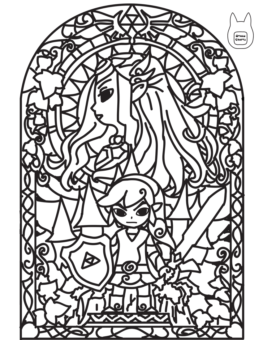 Zelda stained glass window clipart png freeuse stock Zelda stained glass lineart - 15 linearts for free coloring ... png freeuse stock