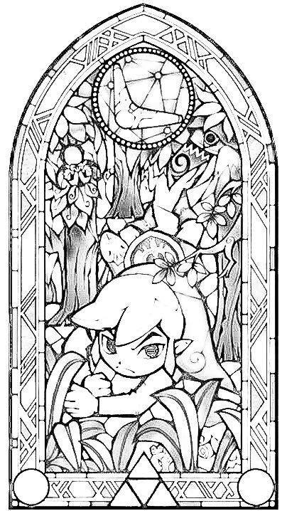 Zelda stained glass window clipart vector black and white library Zelda stained glass lineart - 15 linearts for free coloring ... vector black and white library