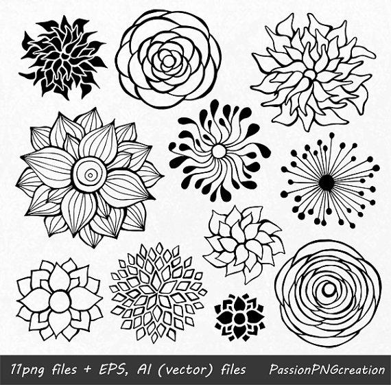 Zen flower clipart clip transparent stock BIG SET! 44 Hand Drawn Flowers clipart, flower element ... clip transparent stock