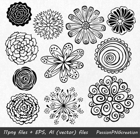 Zen flower clipart free BIG SET! 44 Hand Drawn Flowers clipart, flower element ... free