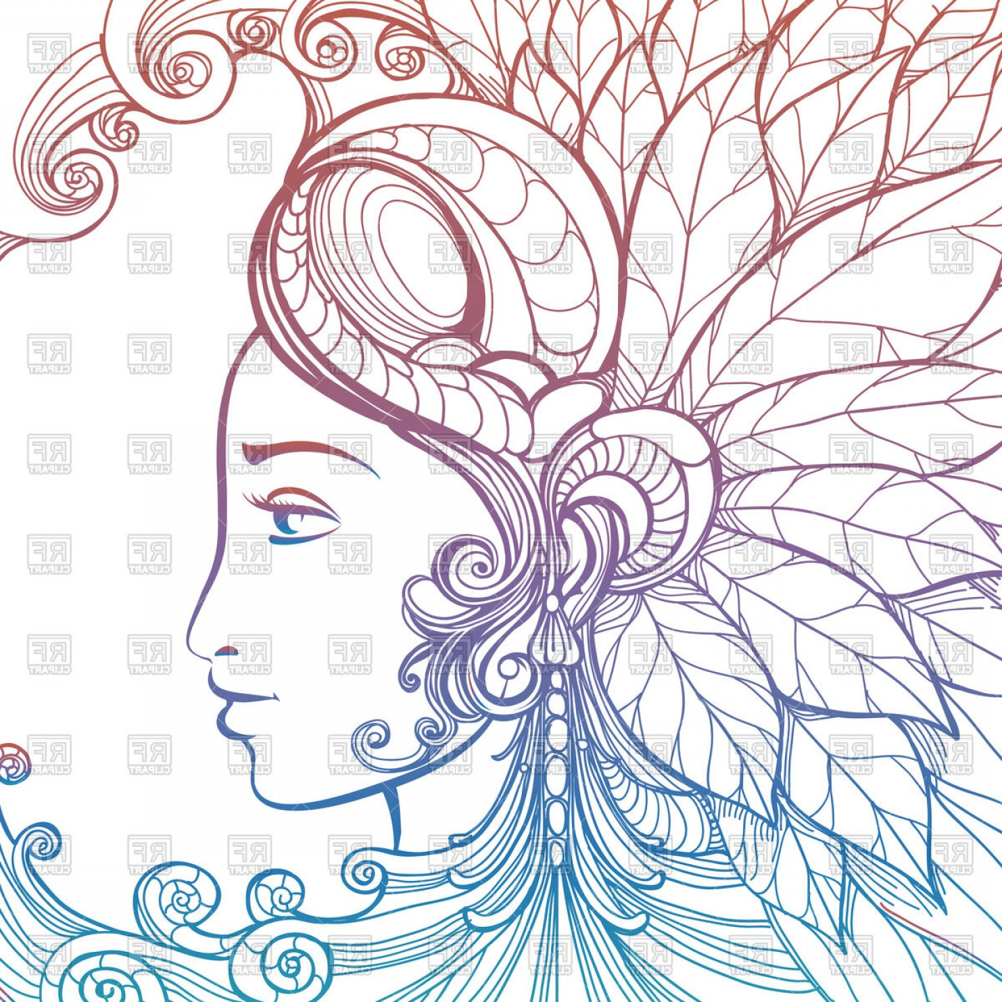 Zentangle art clipart png royalty free library Zentangle Woman Face With Ornament Vector Clipart | SOIDERGI png royalty free library