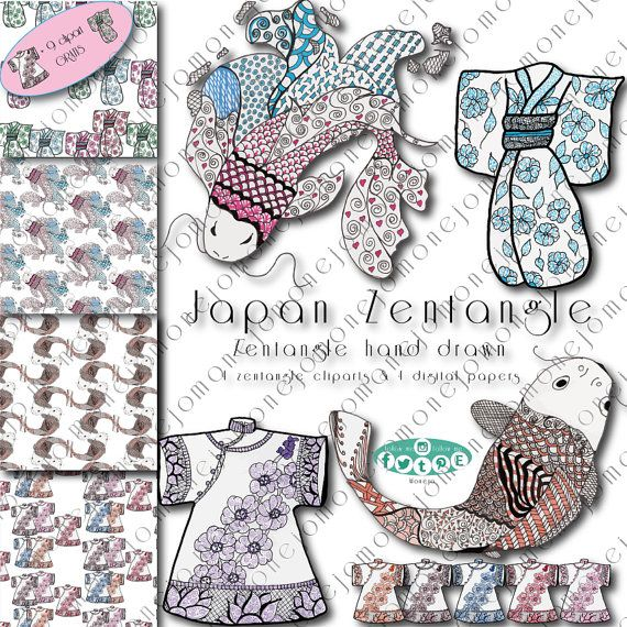 Zentangle art clipart image black and white Japan zentangle art. Clipart, scrapbooking, mandala ... image black and white