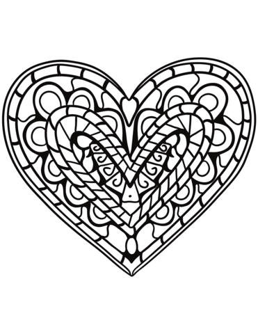Zentangle heart clipart clipart library download Heart Zentangle coloring page | Free Printable Coloring Pages clipart library download