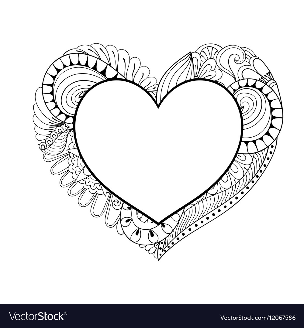 Library of zentangle heart svg freeuse stock png files ... |Zentangle Heart Graphics