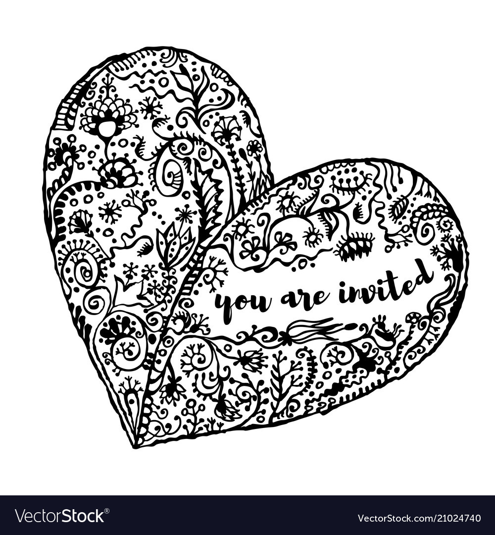 Zentangle heart clipart graphic freeuse Zentangle hand drawn heart text you are invited graphic freeuse