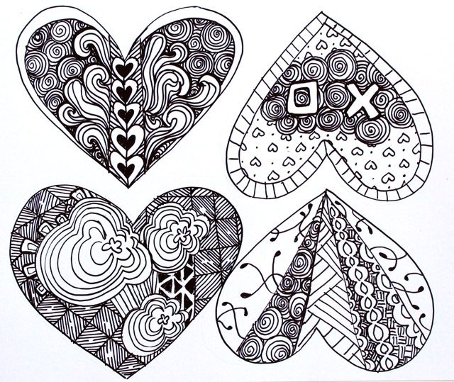 Zentangle heart clipart picture transparent stock Easy Zentangle Patterns | Using your watercolor pencils or ... picture transparent stock