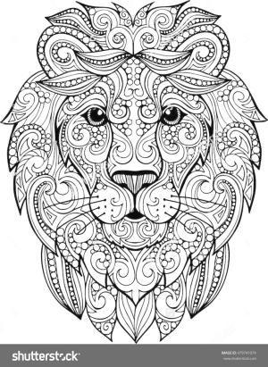 Zentangle pine clipart abstract coloring clip transparent Hand drawn doodle zentangle lion illustration. Decorative ... clip transparent