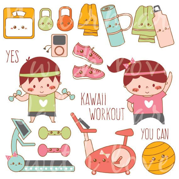 Zero hero exercise clipart graphic transparent download Kawaii Workout Clipart Kawaii Exercise Clipart by ... graphic transparent download