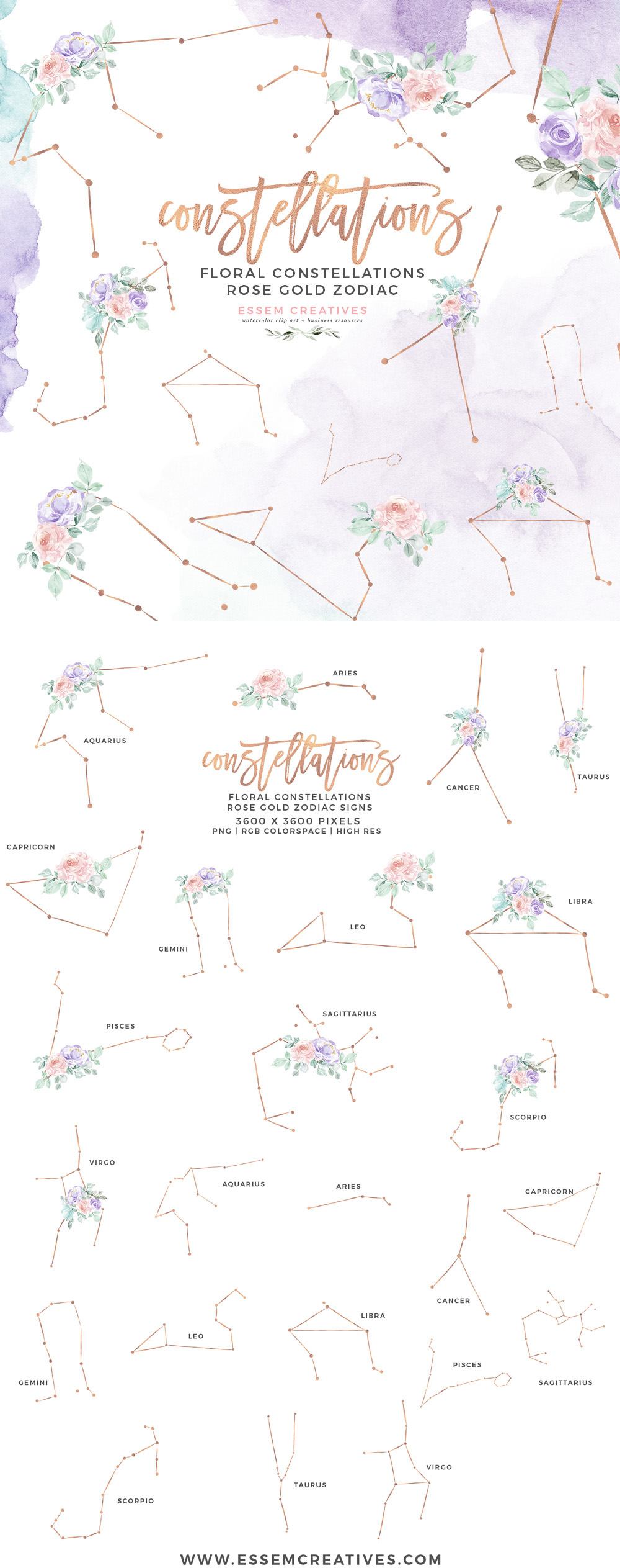 Zodiac constellation digital clipart image transparent stock Floral Zodiac Sign Constellation Clipart Astrology Print for Birthday Card  Invite Baby Shower Planner Stickers image transparent stock