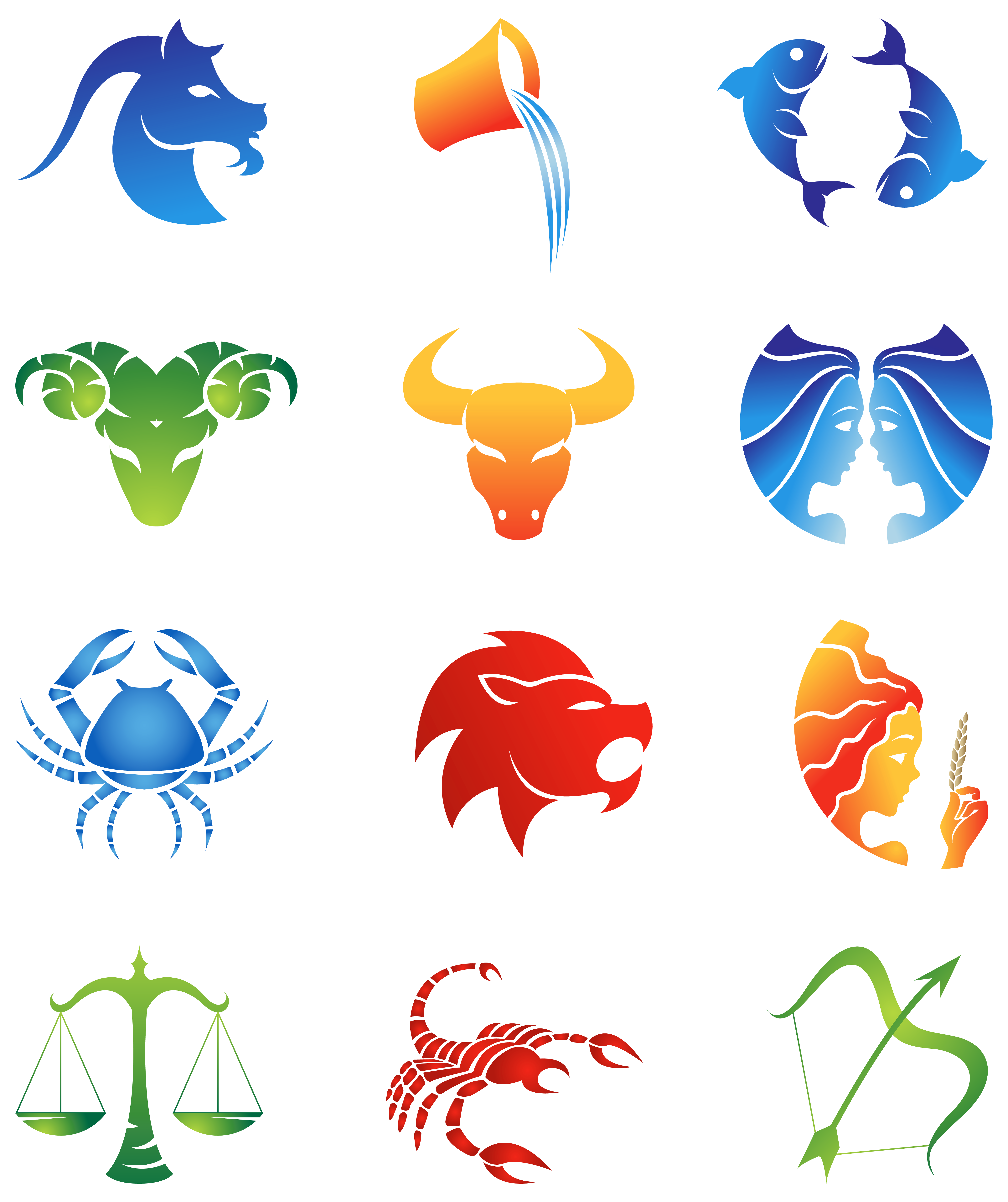 Zodiac signs images clipart picture black and white Colourful Zodiac Signs Set PNG Clipart Image | Gallery ... picture black and white