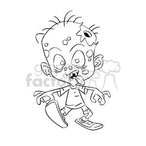 Zombie clipart outline clipart black and white stock zombie child cartoon black white clipart. Royalty-free clipart # 393268 clipart black and white stock