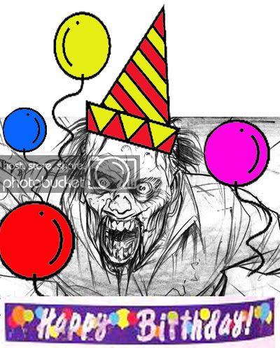 Zombie happy birthday clipart graphic black and white Happy Birthday Zombie! graphic black and white
