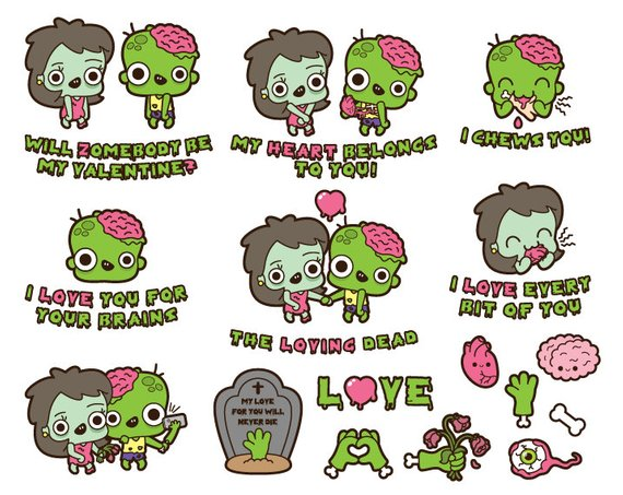 Zombie love clipart