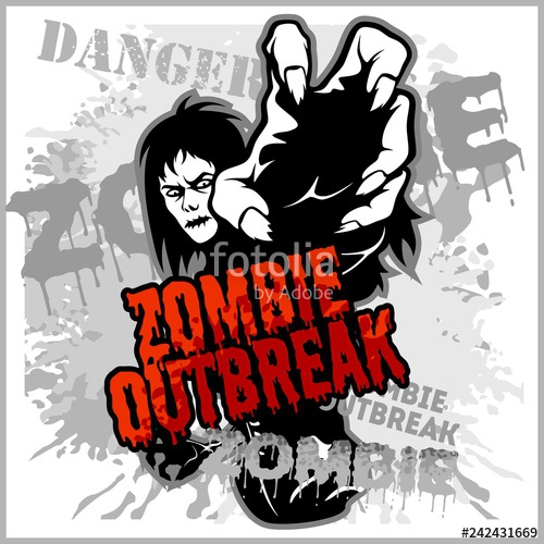 Zombie outbreak clipart clipart transparent stock Poster Zombie Outbreak. Sign board with zombie\