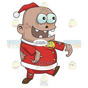 Zombie teeth clipart clipart download Big Head Zombie Santa With Gaps Between Teeth clipart download