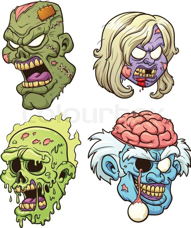Zombie villains clipart graphic royalty free download Stock vector of \'Cartoon zombie heads. Vector clip art ... graphic royalty free download
