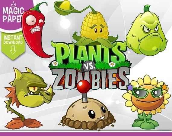 Zombie vs plants clipart banner transparent Plants vs Zombies Clipart - Digital 300 DPI PNG Images ... banner transparent