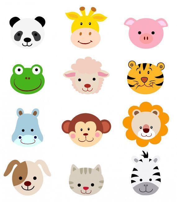 Zoo animal clipart cartoons clip art freeuse stock Pin by Ann Favre Watkins on   kids     Animal faces, Baby ... clip art freeuse stock