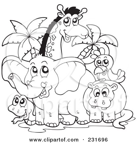 Zoo animal clipart sheet svg library library illustration of a coloring page outline of african animals by ... svg library library