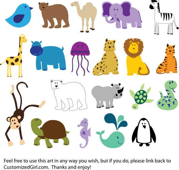 Zoo animal clipart sheet clip art black and white library Zoo animal clip art free - ClipartFest clip art black and white library