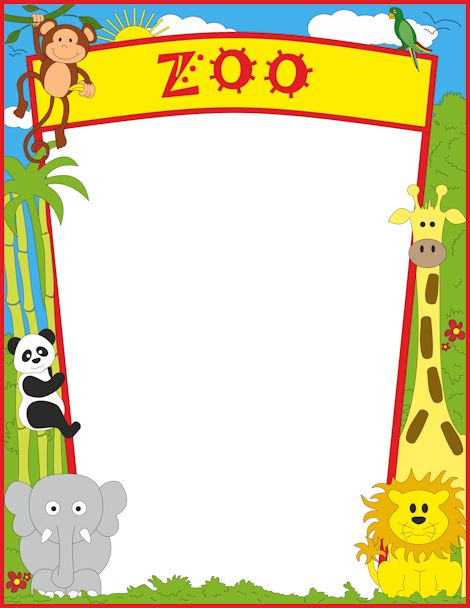 Zoo animal clipart sheet jpg transparent stock A page border featuring zoo animals. Free downloads at http ... jpg transparent stock