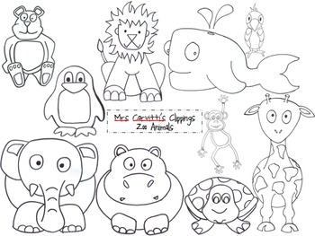 Zoo animal faces clipart black and white vector library download Zoo Animal Black and White Clippings vector library download