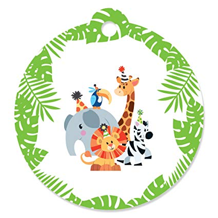 Zoo circle picture frames clipart svg free stock Jungle Party Animals - Safari Zoo Animal Birthday Party or Baby Shower  Favor Gift Tags (Set of 20) svg free stock